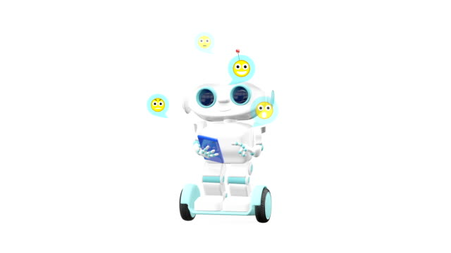 3D Animation Robot on Scooter with Blue Smartphone with Alpha Channel video