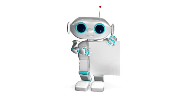 3D Animation Robot with White Paper video