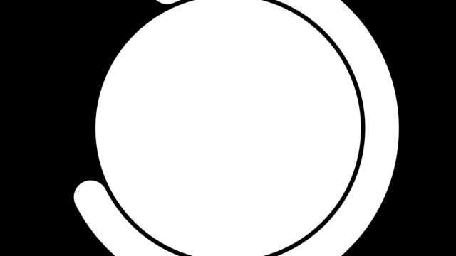 Animation rotating white and black circle transition on white and black background.