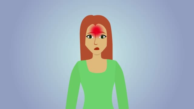 vídeos de stock e filmes b-roll de 2d animation, sad caucasian woman at blue grey background. red circles appearing on human body, pain icons. headache, pain in throat, heartache, pain in stomach. healthcare, illness, symptoms. - ataque cardíaco