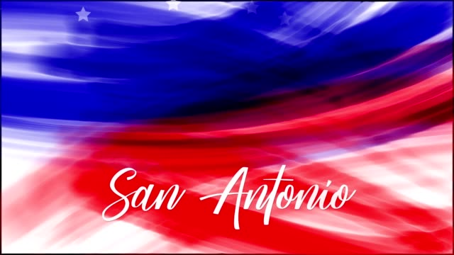 Animation. San Antonio. Background of USA flag abstract grunge drawing. Blue, red watercolor stripes, falling white stars. Template for USA national holiday banner, greeting card, invitation, poster, flyer, etc