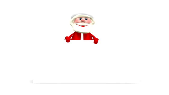3D Animation Santa Claus with White Background and Alpha Channel video