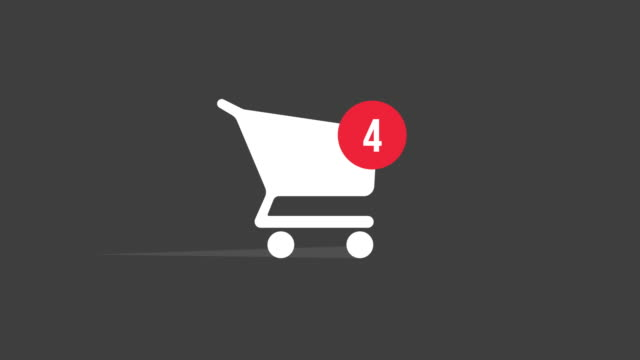 Animation Shopping Cart Icon With Counter 0-100 On Gray Background. Motion Graphics