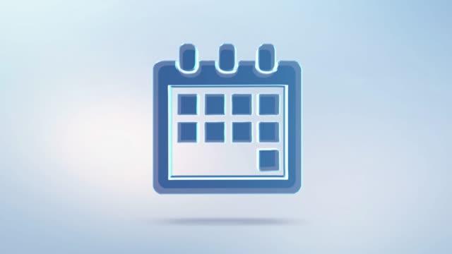 animation-zeichen kalender-icon mit alpha-kanal. rotierende isoliert kalender - kalender icon stock-videos und b-roll-filmmaterial