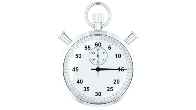 Animation Stopwatch, 3D rendering isolated on white background