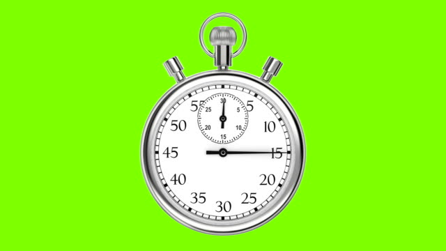 Animation stopwatch on a green background. A full minute. video