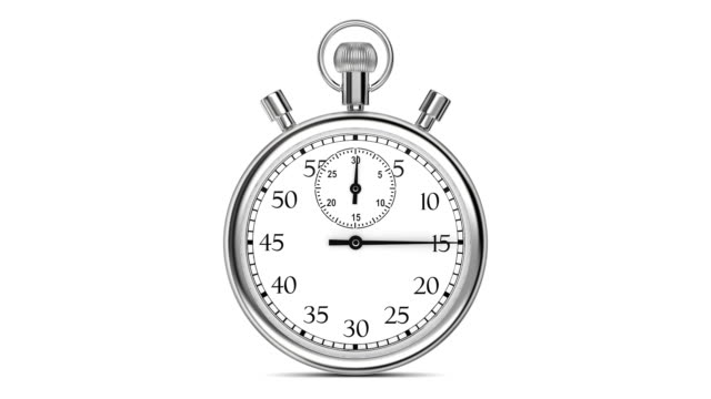 Animation stopwatch on a white background. A full minute.