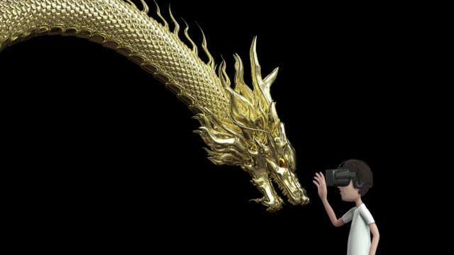 3D animation the man wear goggle virtual reality and touch gold chinese dragon include alpha layer.