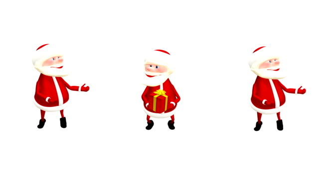 3D  Animation Three Santa with Gifts and with Alpha Channel video