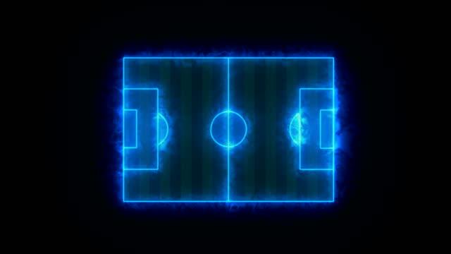 vidéos et rushes de vue de dessus de animation de terrain de soccer ou de football, terrain de mise en page numérique ligne bleue. uhd 4k. - vaisselle picto