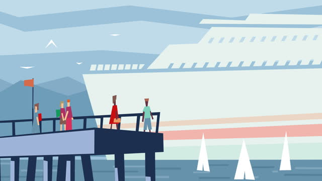 Animation Tourist Liner In Port video