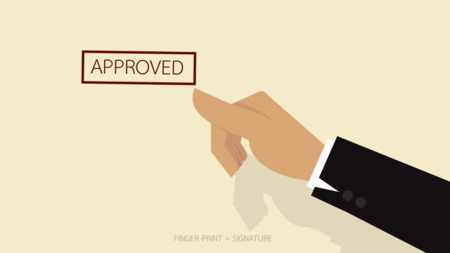 Animation video of Thumb stamping on the paper to approve video
