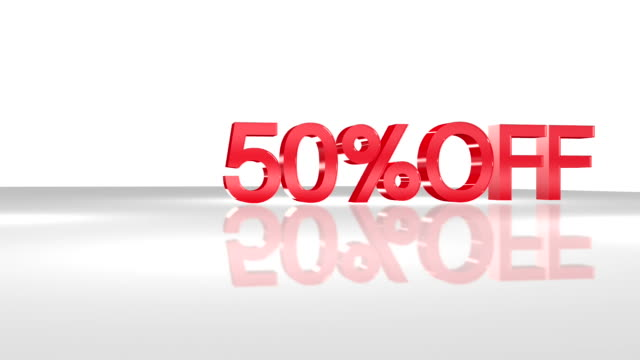 3D animation with 50%OFF phrase in FullHD. video