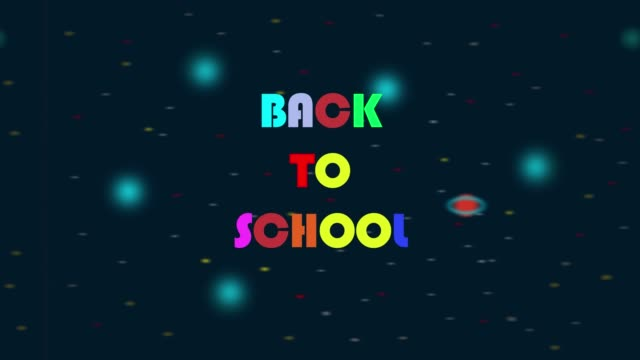Animation with a rocket flying in space and back to school writing.