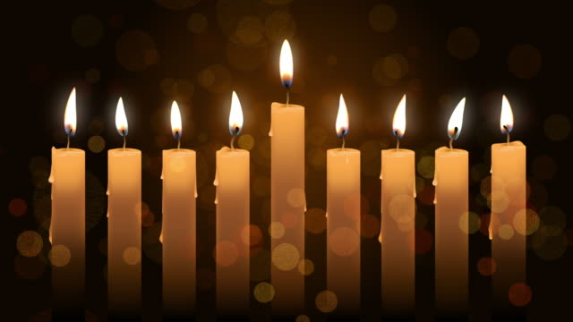 Animation with hanukkah candles over bokeh background. 4k footage