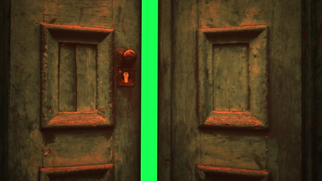 animation - wooden door opening to green screen