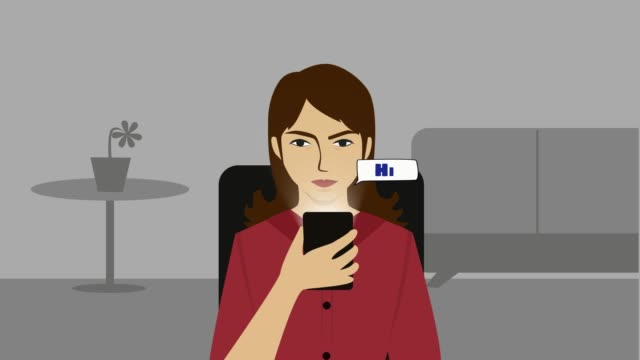 2D animation, young Caucasian girl sitting on chair indoors with phone as messages with greetings appearing in front of her face. Digital revolution, social media addiction.
