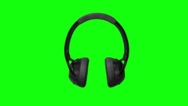 8 animations 3d black headphones earphones gadget audio stereo green screen chroma key - auricolari wireless video stock e b–roll