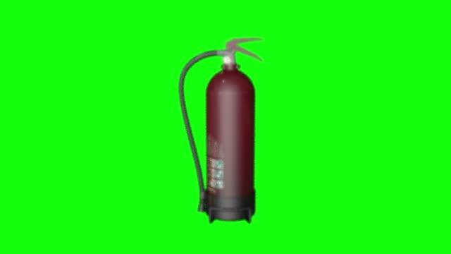 vídeos de stock e filmes b-roll de 8 animations fire extinguisher flame green screen 3d safety chroma key - inflamável
