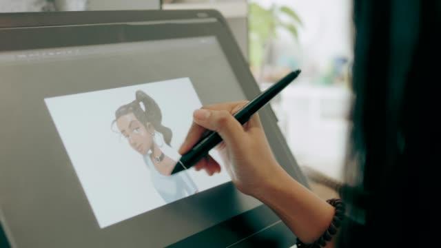 Animator girl is working on illustration work-stock video video