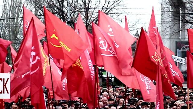 vídeos de stock e filmes b-roll de donetsk aniversário da revolução socialista - cultura russa