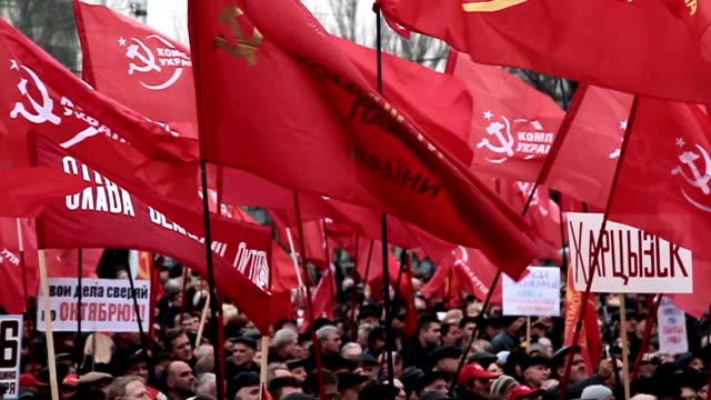donezk jubiläum der sozialistischen revolution - kommunismus stock-videos und b-roll-filmmaterial