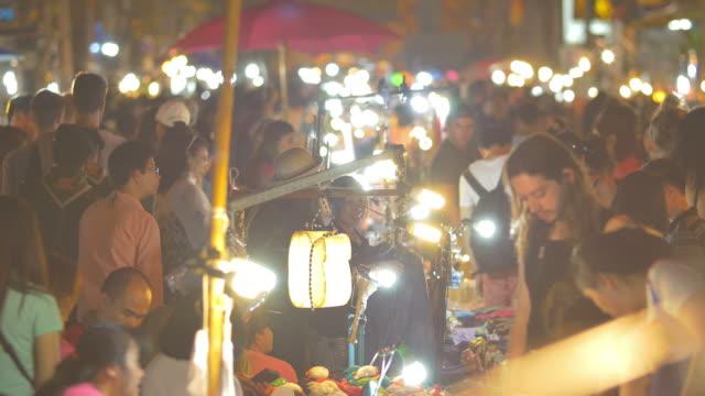Anonymous crowd in Walking Street night market video
