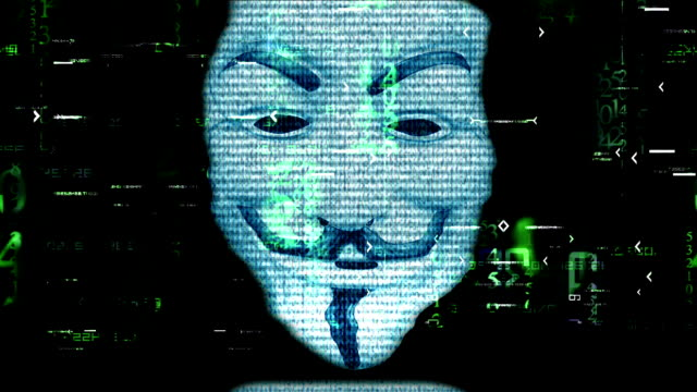 Anonymous mask on matrix background video