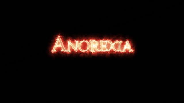Anorexia written with fire. Loop