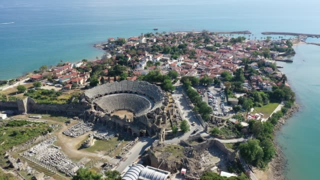 antalya side antique city aerial view - greek architecture stock videos & royalty-free footage