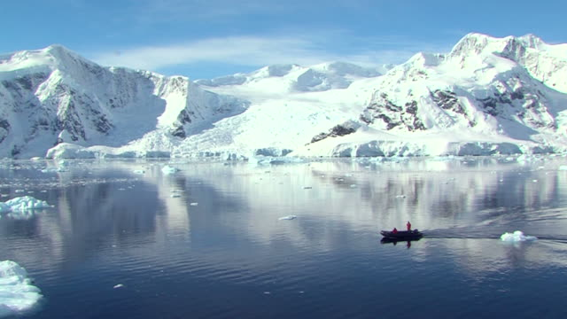 antarctica landscape with mirrow reflection and small boat video