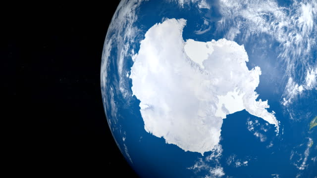 Antarctica, South Pole, in planet Earth in rotation, view from outer space video