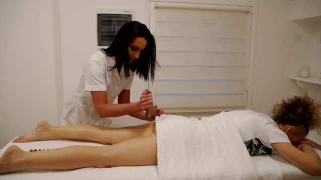 Anti cellulite massage for mature  woman in beauty salon video