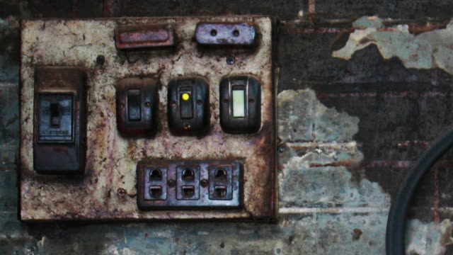 Antique Electrical Panel Board with Fire Extinguisher. Old electrical panel including a red fire extinguisher in case of a fire. futebol stock videos & royalty-free footage