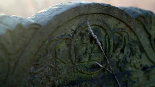 Antique Gravestones on Old Jewish Cemetery at Sunrise Steadicam video