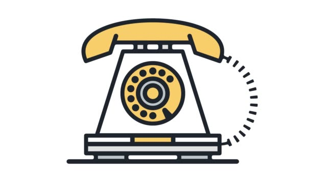 Antique & Vintage Telephone Line Icon Animation with Alpha