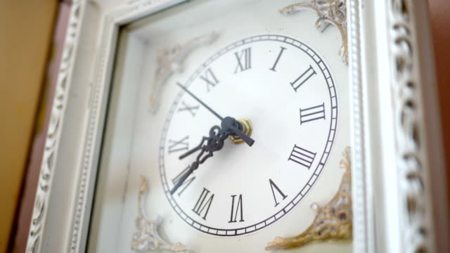 Antique White clock ticking in ambient environment Angle 2 Antique White clock ticking in ambient environment Angle 2 wall clock stock videos & royalty-free footage