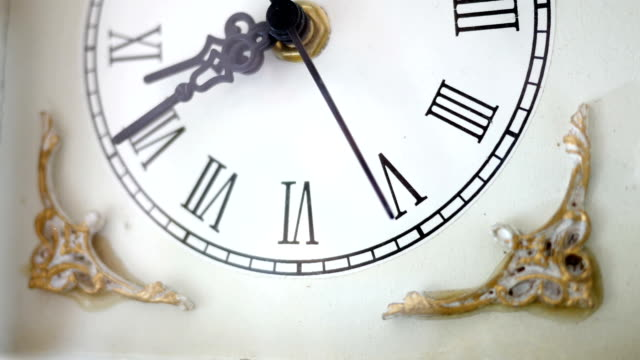 Antique White clock ticking in ambient environment Angle 3 Antique White clock ticking in ambient environment Angle 3 wall clock stock videos & royalty-free footage
