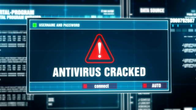 アンチ ウイルスを割った後入力ログインとパスワード デジタル システム セキュリティの警告エラー メッセージ コンピューターの画面上に生成される通知を警告します。サイバー犯罪、コ� - ウイルス対策ソフト点の映像素材/bロール