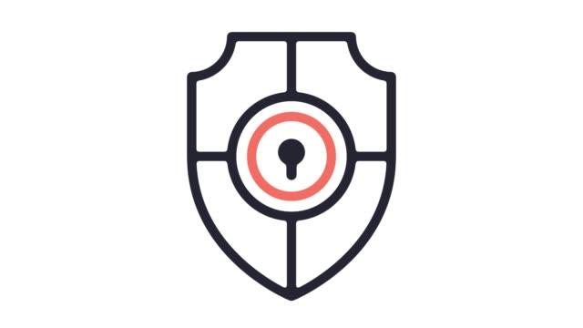 vídeos y material grabado en eventos de stock de animación de icono de línea de software antivirus con alfa - shield