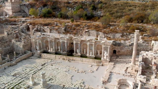 Antonine Nymphaeum / Fountain at Sagalassos , Poinf Of Interest Shoot Aerial Footage of Sagalassos old ruin stock videos & royalty-free footage