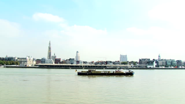 Antwerp, barge on the river, Antwerpen, Belgium video