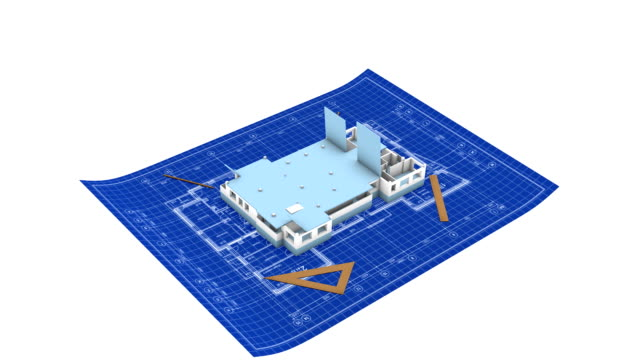 Apartment house on blueprint video
