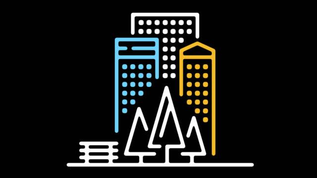 apartments in downtown line icon animation with alpha - technika ilustracji filmów i materiałów b-roll