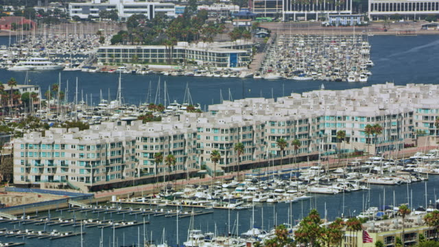 AERIAL Apartments on the waterfront in Marina Del Rey, California