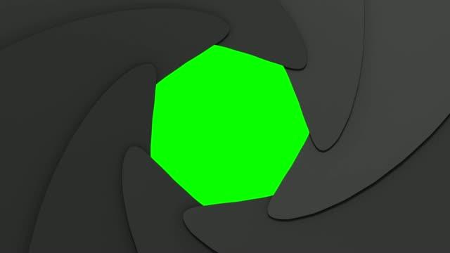 vidéos et rushes de ouverture iris transitions et changements sur fond clé chroma. - verre optique