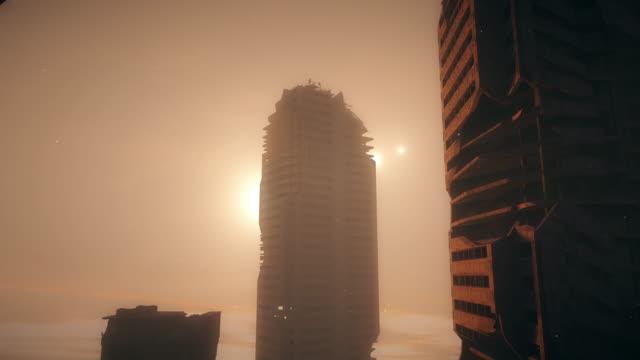 霧の中の黙示録都市。 - 残骸点の映像素材/bロール