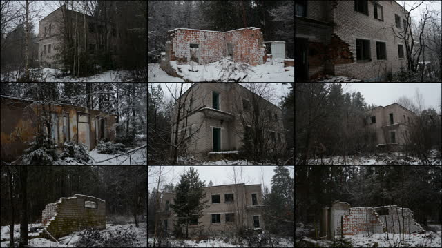 Apocalypse concept, abandoned brick buildings video