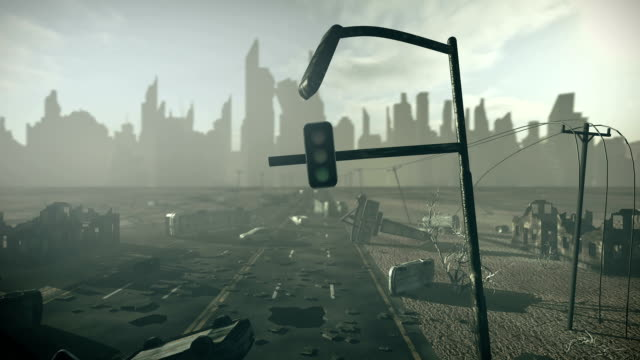 Apocalyptic city with highway