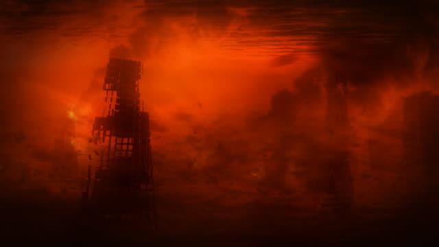 Apocalyptic landscape. Building destruction. video